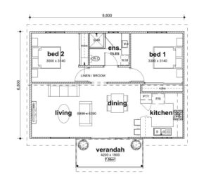 Two Bed Granny Flat Floorplan - Granny Flat Masters Perth