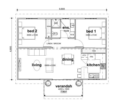 Two Bed Granny Flat Floorplan   Granny Flat Masters Perth